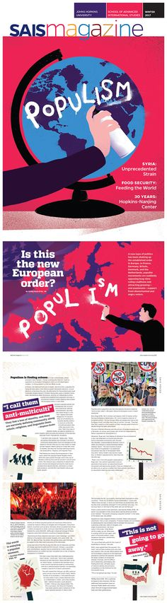 SAIS Magazine Winter 2017 — Cover and Cover Story on Populism, from the latest issue of the alumni magazine. By Beth Singer Design. View the online publication at Issuu.