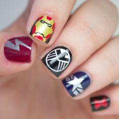 This Nail Art Assembles The Avengers (via Fashionably Geek).