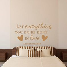 Bible Verse Quotes Wall Decal Let Everything You Do Be Done With Love Vinyl Lettering Nursery Bedroom Love Quotes Wall from FabWallDecals on Etsy. #bedroomdecor #bibleverse #wallquote #love #family.