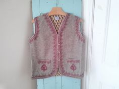 Bohemian Scarlet Embroidered Gray Wool Vest by JulesCristenVintage