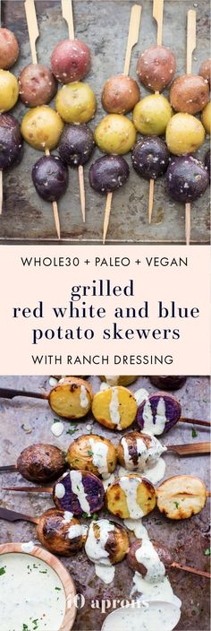 One of the best red, white, and blue side dishes! These grilled red, white, and blue potato skewers with ranch dressing are the perfect patriotic side dish. Garlicky, packed with flavor, and festive yet elegant, they go so well with burgers or brauts on t http://grillsidea.com/best-portable-outdoor-grills/