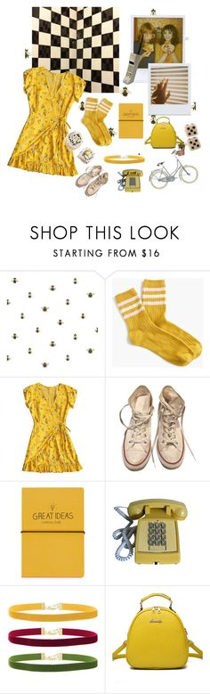 """yellow memories"" by lilsadgal ❤ liked on Polyvore featuring Timorous Beasties, J.Crew, Converse, Wallflower, Ultimate, Topshop, Rock 'N Rose and WithChic"