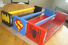 Ikea Bekvam shelves painted for each Super Hero.  for his books