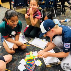 Jenga Game Cards: Engaging Math & Literacy Center Activities for the Classroom - Life Between Summers Math Literacy, Literacy Centers, Teaching Math, Math Activities, Maths, Game Cards, Card Games, Jenga Game, Staff Meetings