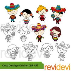 Cinco de mayo children clip art set includes graphics of 3 girls and 3 boys in festive costumes. A great collection for fiesta and Mexico theme projects. You will get 6 colored images and another 6 in black and white outline.For Cinco de mayo freebie, get it hereLink-Cinco De Mayo Free Clip ArtFor more elements of Cinco de mayo, find hereLink-Cinco De Mayo ClipartGreat resource for any school and classroom projects such as for creating bulletin board, printable, worksheet, classroom decor…
