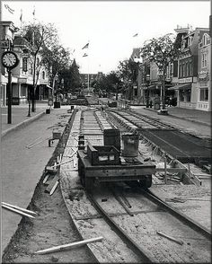 Laying down tracks on Main Street USA, via Flickr.