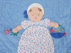 Adorable-VINTAGE-30-40s-Applique-Baby-Crib-QUILT-Excellent-Quilting-CLEAN  Vintageblessings