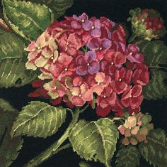 Dimensions Crafts Hydrangea Bloom Needlepoint Kit Stitched In Wool 20053 Embroidery Needles, Ribbon Embroidery, Cross Stitch Embroidery, Machine Embroidery, Cross Stitch Kits, Cross Stitch Patterns, Hydrangea Bloom, Diy Crafts Home, Yarn Crafts