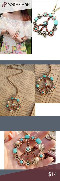 Vintage Peace Necklace Beautiful long beaded peace sign necklace Boutique Jewelry Necklaces