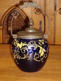 English Antique Victorian Biscuit Barrel Jar Hand Painted Cobalt Glass