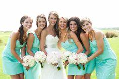 Bridesmaids in Turquoise J. Crew Dresses