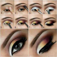 Step by step eye makeup – PICS. My collection Dark plum and yellow gradient eye makeup tutorial in – Das schönste Make-up Makeup Goals, Makeup Inspo, Makeup Art, Makeup Inspiration, Makeup Tips, Makeup Ideas, Makeup Tutorials, Tiger Makeup, Makeup Hacks