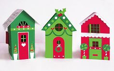 Free templates and instructions to create three cute cottages.