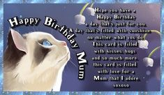 Let mum know you adore her with this lovely cat card. Free online For A Mum That You Adore ecards on Birthday Happy Birthday Wishes Images, Beautiful Birthday Cards, Birthday Wishes Funny, Birthday Songs, Mum Birthday, Very Happy Birthday, Happy Birthday Banners, Happy Panda, Cat Cards