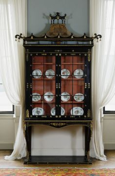 Chinoiserie cabinet, one of a pair supplied by the Preston firm and originally used as a bookcase, in the Morning Breakfast Room