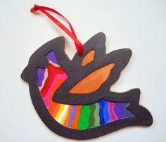 Hand Painted Rainbow Black Dove Ornament