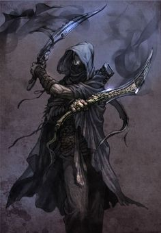 shadow assassin, hooded, duel wielding, Daggers. Black, black wispy magic.
