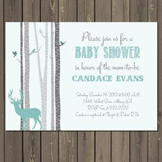 Rustic Baby Shower Invitation  Baby Boy Shower Invitation  Mint