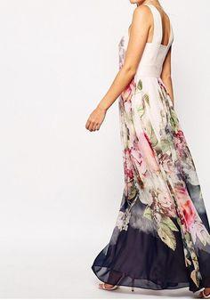 White Pure Peony Print Pleated Sleeveless Ted Baker Chiffon Maxi Dress - Maxi Dresses - Dresses