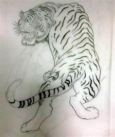 Japanese Tattoo Flash Tiger Sketch Lily Jpg