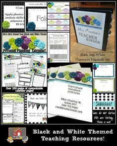 The Black and White Collection! Tons of resources to save you time and keep you organized this school year!  Includes resources for CCSS, Classroom Parent Handbooks, Classroom Decor, Classroom Forms, Teaching Planning Calendars, Newsletters, Welcome Banners, Vocabulary Materials, and more!  Check out the freebies too!  http://www.theorganizedclassroomblog.com/index.php/ocb-store/view_category/15-black-and-white-theme-resources