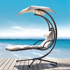 @Overstock.com - Relax in luxurious comfort in this unique chaise lounge. The sturdy powder-coated steel frame supports a suspended, adjustable chaise lounge. The set is weather resistant so you can enjoy years of use. Plush polyester cushions are included.http://www.overstock.com/Home-Garden/Dream-Chair-Chaise-Lounge/6099453/product.html?CID=214117 $350.99