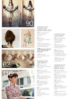 Make a contents page like this one with snapshot images from my article and place numbers on them. Use this page to add photographic/information credit as well