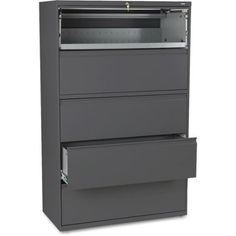 HON 800 Series 5-Drawer Lateral File, Roll-Out/Posting Shelves, 42 inchW x 67 inchH, Black