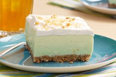 Find yourself on Cloud Nine with these 'Key Lime' Cloud Squares! The fluffy texture of these 'Key Lime' Cloud Squares will send you to dessert heaven. Make Ahead Desserts, No Bake Desserts, Just Desserts, Delicious Desserts, Dessert Recipes, Yummy Food, Lime Desserts, Dinner Recipes, Cupcakes