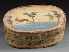 Polychrome-painted Bride's Box, northern Europe, late 19th century, oblong covered lapped-seam box, the top painted with a gentleman hunter shooting a stag with a verse inscribed above the scene, the sides decorated with floral borders, (paint wear), ht. 7 1/2, wd. 13, lg. 19 1/2 in.