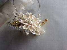 Flores de cabello Clip Flor Kanzashi oro por LihiniCreations