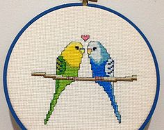 Love Birds Budgies Modern Cross Stitch by EmilySarahDesigns Embroidery Hoop Art, Cross Stitch Embroidery, Embroidery Designs, Modern Cross Stitch Patterns, Cross Stitch Designs, Cross Stitch Bird, Cross Stitching, Palestinian Embroidery, Thread Art