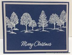 Merry Christmas Heat embossed using Lovely as a Tree stamp set.