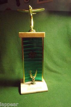 """Vintage Brass & Marble Airplane Trophy 13"""" Tall 1970's Great Desk Piece"""