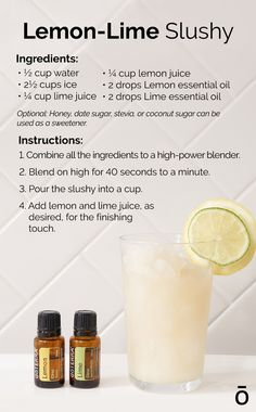 Summertime means slushy time! Check out this refreshing recipe for a slushy that's healthy and tasty. Cooking With Essential Oils, Essential Oils For Kids, Essential Oil Blends, Juice Smoothie, Smoothies, Lemon Uses, Beverages, Drinks, Slushies