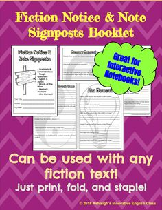 Fiction Notice & Note Signposts Booklet Notice And Note, English Class, My Teacher, Booklet, Fiction, Notes, In This Moment, Teaching, This Or That Questions