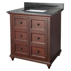 """Check out the Foremost ADNAD3022 Admiral 30"""" Vanity in Dark Walnut with Engineered Stone Vanity Top - Vanity Top Included priced at $891.65 at Homeclick.com."""