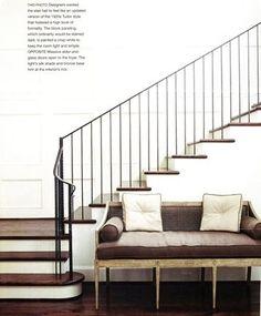 beautiful sweep in the handrail, iron railing, simple balustrade,