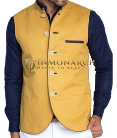 Mens Golden Linen Nehru Vest Ultimate Look