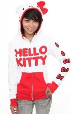 a0f44d9cd Hello Kitty hoodie with bow Zip Hoodie, Sweatshirt, Sanrio, Hello Kitty  Clothes,