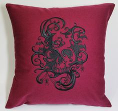 Gothic Skull Embroidered Pillow Case Cover by tadaboutique on Etsy, $35.00