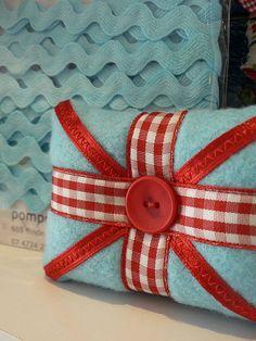 pincushion, love the ribbon and button trim