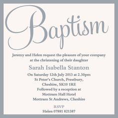 Swirly font baptism invitation