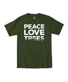 Look at this #zulilyfind! Military Green 'Peace Love Trees' Tee #zulilyfinds