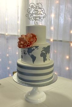 Travel theme wedding cake by @The cake Zone