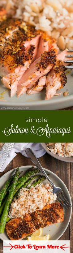 Get a delicious healthy dinner on the table in less than 20 minutes with this Simple Salmon  Asparagus. #health #fitness #weightloss #healthyrecipes #weightlossrecipes