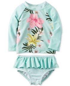 Carter's 2-Pc. Floral-Print Rashguard Swim Set, Baby Girls (0-24 Months) - Green 3 months