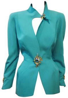 I love the asymmetrical neckline  Thierry Mugler, 1980s