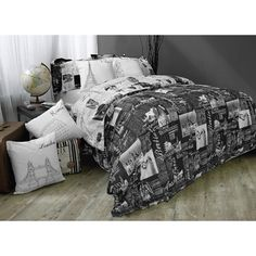 "Passport Reversible Full/Queen Duvet Cover Set  $99.00  Take a world tour of some of the greatest world cities with this Passport reversible duvet cover and sham set. It features soft scripted and elegant typeface in black and grey over white so you can dream of the cities you've visited - as well as the ones you haven't yet. The convenient zipper closure allows for seamless presentation and reverses onto itself. 100% cotton. Twin duvet cover set includes 68"" W x 86"" L duvet cover and one…"