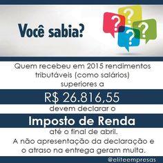 Tem alguma dúvida sobre o IRPF? estamos as ordens!  Acesse nosso site: www.contabilidadeelite.com.br  #eliteempresas #contabilidade #impostoderenda #IRPF #receitafederal